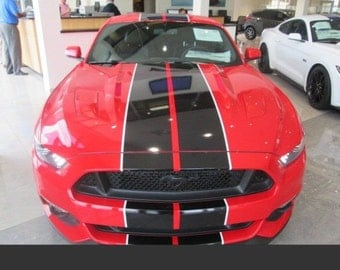 """2015 2016 2017 GT350 Style  2 COLOR Mustang 10"""" Rally Stripe Stripes graphics set"""
