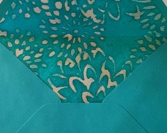 Handmade Stationery Set -- BATIK CHRYSANTHEMUMS (Turquoise & Tan)