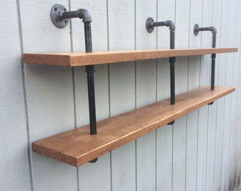 reclaimed wood and pipe double bookshelf wall mounted bookcase