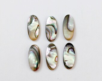 Set of 12 - Abalone Shell Oval Cabochon 7 x 15 mm (DX952)