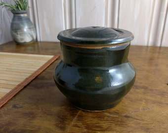 Handmade Pottery Jar - Dark Green