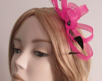 PINK  CRIN FASCINATOR, With Black coque Feathers, Acrylic lozenge bead, on small black headband
