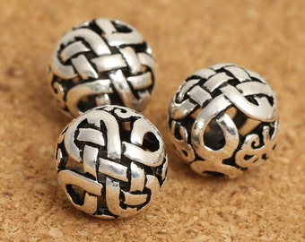 4 Sterling Silver Celtic Round Beads, Sterling Celtic Beads, 925 Silver Celtic Beads, Sterling Round Bead, Sterling Hollow Beads 10mm - E270