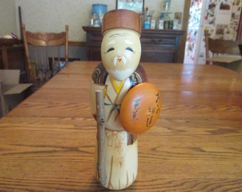 Vintage 1980's Old Japanese Gentleman wooden Kokeshi Doll