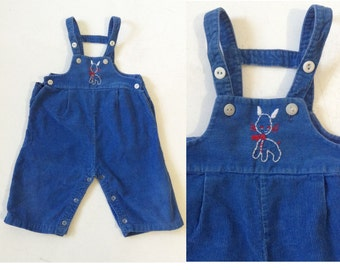 Vintage Baby Overalls // 1950s Blue Corduroy Overalls // 50s baby corduroy overalls with embroidery size 12 months by Health-Tex