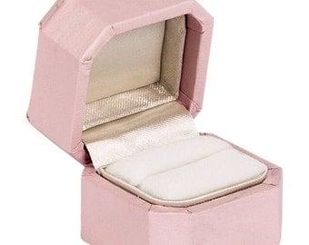 Charming Feminine Light Pink Mini Ring Box, Engagement or Wedding Ring Box