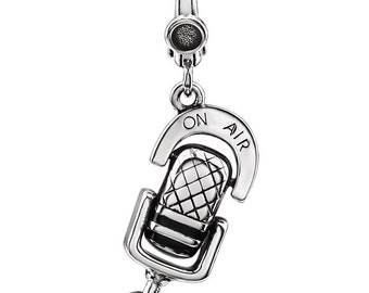 Sterling Silver Clip-on Vintage Style Microphone Charm for Charm Bracelet, Sold Individually