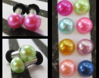 Dainty Pearl on a Stainless Steel wedding EAR TUNNELS you pick the color and plug gauge size - 12g, 8g, 6g aka 2mm, 3mm, 4mm