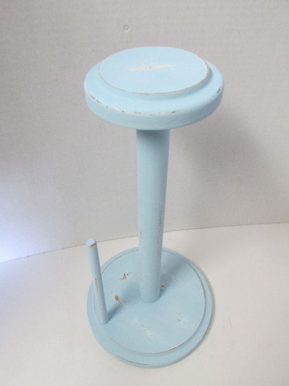 Light blue shabby chic wooden paper towel holder stand up for Shabby chic towel stand