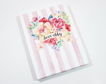 dear baby journal - personalized baby book, stripe watercolor heart baby memory book