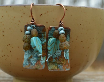 Boho copper patina earrings ORTTEC - DayLilyStudio