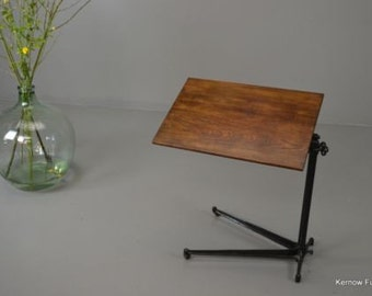 Antique Oak Adjustable Side Drafting Reading Table