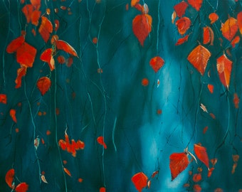 Original Oil painting Modern Art Leaf Autumn Decor