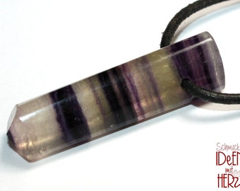 Fluorite on leather strap / cotton cord (necklace)