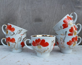 Soviet Vintage 5 Coffee / Tea Cups, Russian White Cups wit Hand Painted Flowers Decoration. Retro Kitchen Decor. Made in USSR. Collectible