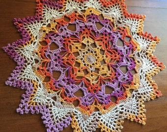 Crochet doily, Solar Brilliance, colorful doily, 9""