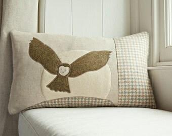 Handmade Swooping Owl cushion - British countryside