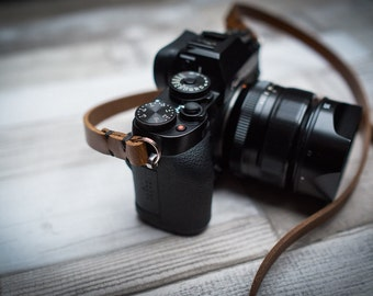 Rivet Free Leather Camera Strap, Black Leather Camera Strap, Brown Leather Camera Strap, Thin Leather Camera Strap,