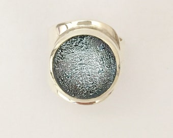 925 Silver Dichroic Glass Ring | Sterling Silver | Adjustible Ring | Silver Glass Ring | Dichroic Jewelry