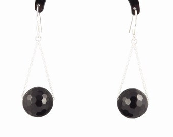 Silver 925 and black agate earrings