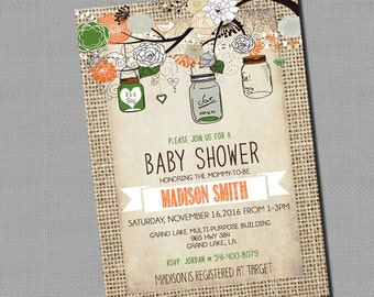 Fall Burlap Rustic Baby Shower Invitation, Mason Jar, Shabby Chic,  _153