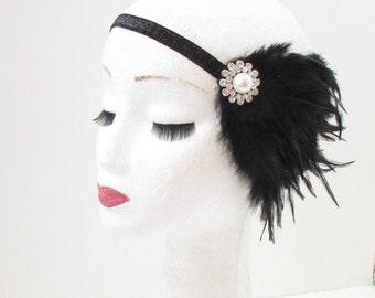 Black Silver Pearl Feather Headpiece Flapper 1920s Great Gatsby Headband Vtg 31