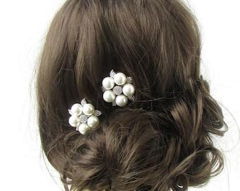 2 x Silver White Pearl Hair Clips Flower Diamante Bridal Headpiece Vtg Daisy 450