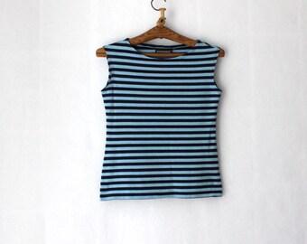 MARIMEKKO Shirt Nautical Top Blue Sky Blue Striped Sailor Top Marine  Sleeveless Cotton Top Medium Size