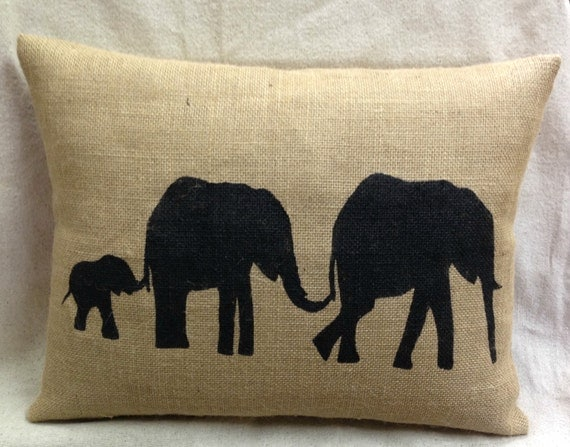 Line of Elephants Pillow, Burlap Pillow, Elephant Lover, Outdoor Pillow,Throw Pillow, Decorative Pillows, Accent Pillows, Throw Pillows