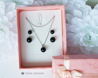 Bridesmaid Gift Set [6/8/8]: Double Onyx Earrings & Necklace Set of 1,2,3,4,5,6... in Jet Black, Sisters Jewelry Sets, Sterling Silver Post