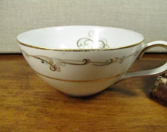 Vintage Noritake Esteem Porcelain Teacup - Blue and Brown Scrolls