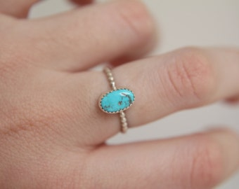 US Size 5.5 · Turquoise Ring · Sterling Silver Ring · Natural Turquoise · Handmade Ring · Turquoise Stacking Ring
