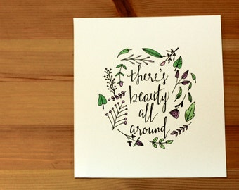 """Gold """"Follow"""" Print & """"There's Beauty All Around"""" Watercolor Print"""