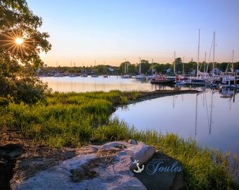 Limited Edition ~ Starburst ~ Wickford, Rhode Island, Sunset, Boats, Wickford Harbor, Summer, Fine Art Canvas, New England
