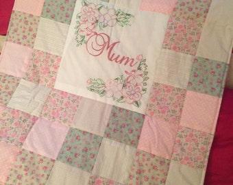 Hand embroidered mum/mom/mummy design patchwork quilt