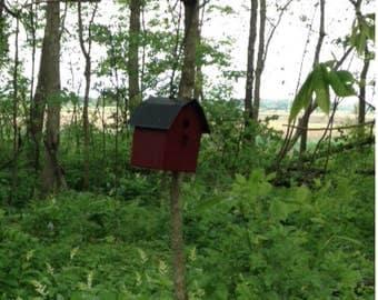 barn shaped metal birdhouse