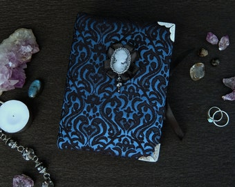 Gothic notebook with removeable cameo brooch, Soft cover, 100 sheets, OOAK, Gift for girl, For her, For women, For friend, For Bride, wife