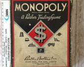Parker Brother's 1936 Monopoly trading game | original box, instructions | game night |  wood Hotels and house|  1935 1946 copyright board