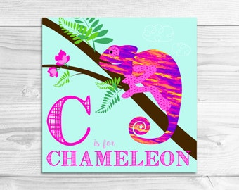 Instant Download: C is for Chameleon Wall Art Print // Baby Art, Nursery Art, Alphabet Art