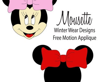 Mousette Free Motion Applique FMA embroidery stitch out design of a mouse silhouette or full face with bow