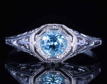 0.92cts Natural Sky Blue Topaz Art Deco Style Ring, Blue Topaz is Decemeber Birthstone!