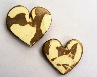 Hand Painted Clay Magnets - Set of 2, Mottled Gold and Cream, Heart Shaped, Refrigerator Magnets