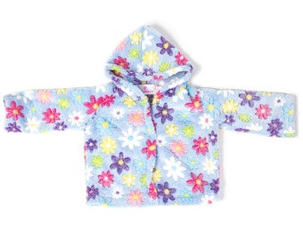 Fleece hood jacket for baby girls - 2 side fleece jacket for baby girls - Baby shower gift idea