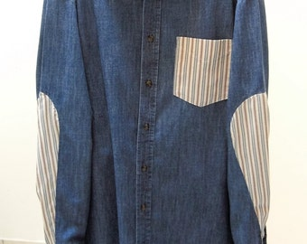 Mens Denim Chambray Shirt With Striped Cotton Inset Sleeve And Button Down Collar, Washed And Worn Size Medium