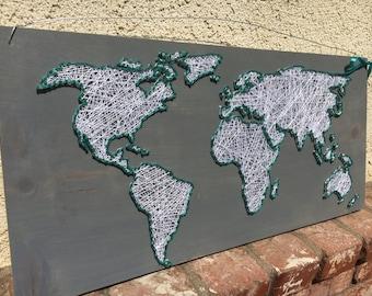 World Map String Art Sign