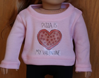 Pizza is My Valentine Baby Pink Sweater for American Girl Dolls