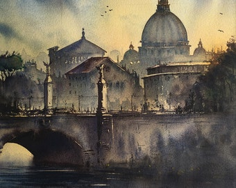 Rome watercolor artprint
