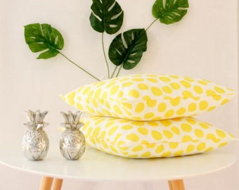 Bright summer yellow polkadot cushion cover perfect for indoor and outdoor 45x45 18x18