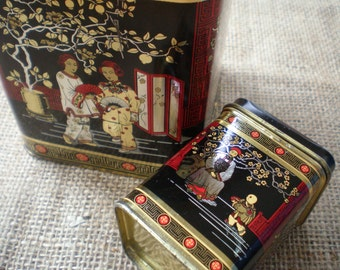 Vintage Pair of Chinese/Oriental Style Tea Tins Tea Canisters Twining's Tea Caddy England