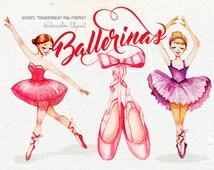 Ballerina clipart, Watercolor clipart, Ballet clipart, Girly Nursery prints, Dancing girls clipart, Cute illustration, Paper Dolls clipart
